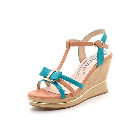 2015夏季新款性感时髦鱼嘴水钻高跟坡跟防水台罗马夏天罗马女凉鞋