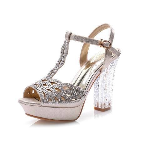 韩版夏季凉鞋女高跟时尚水晶跟粗跟女鞋防水台水钻鱼嘴女单鞋
