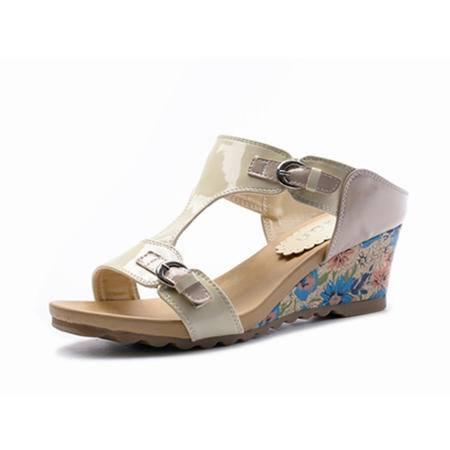 2015夏季新款时尚中跟坡跟韩版套脚懒人花纹凉鞋女鞋