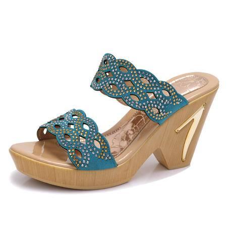 凉鞋潮女2015夏季新款韩版坡跟女鞋水钻套脚时尚休闲