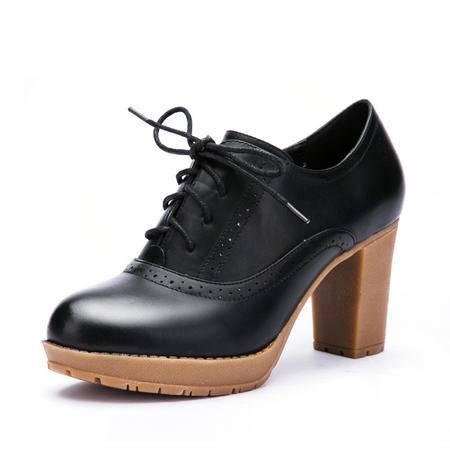 春季新款时尚防水台牛筋底系带高跟女单鞋真皮高跟鞋粗跟女鞋