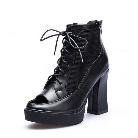 时尚鱼嘴网鞋新品高跟绑带网单鞋真皮女凉鞋子防水台马丁靴子