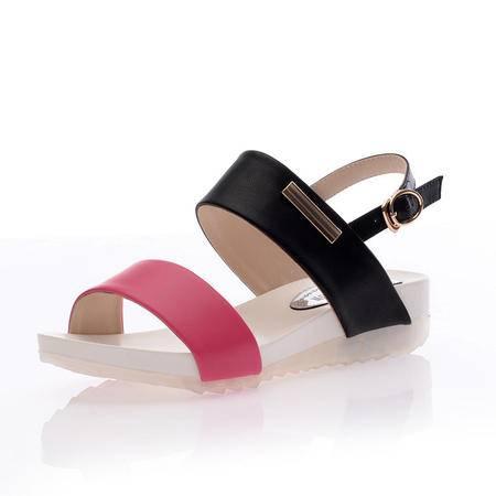 2015夏季新款正品韩版休闲平底凉鞋扣带真皮舒适女鞋