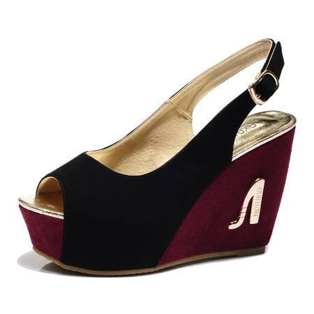 2015夏季新款女式坡跟高跟凉鞋松糕厚底防水台撞色凉鞋女