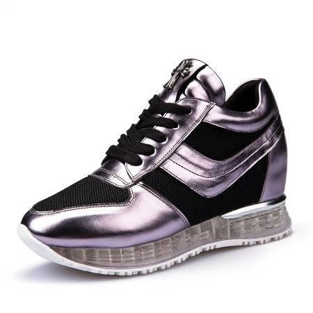 春夏新款休闲系带女鞋透明厚底迷彩时尚内增高透气网纱气垫运动鞋