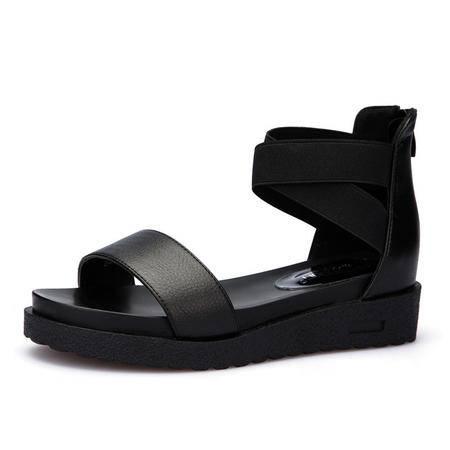 夏季新款凉鞋女高跟凉鞋松糕鞋露趾平底罗马风女休闲后拉链