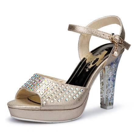 夏季时尚气质水钻带珠高跟女凉鞋性感奢华透明水晶跟耐磨防滑胶底凉鞋女