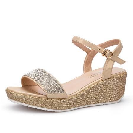 新款夏坡跟女凉鞋舒适时尚水钻厚底松糕防水台罗马风女鞋扣带凉鞋