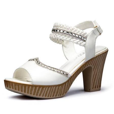 新款夏季高跟甜美露趾百搭女凉鞋粗跟低帮编织带镶钻凉鞋女