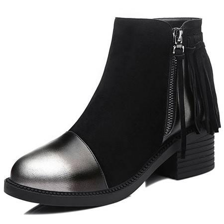 复古女靴子短靴新款时尚女鞋流苏欧美裸靴中跟马丁靴单靴棉靴