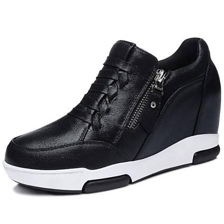 新款内增高时尚女鞋编织韩版运动低帮鞋女潮厚底休闲单鞋低邦潮鞋
