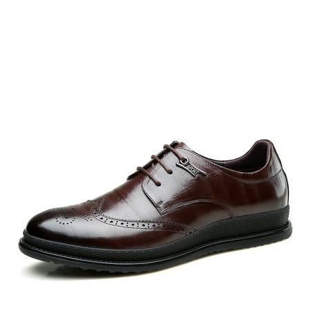 帕莱汀/BALADY 男皮鞋欧美休闲系带男皮鞋柔软尖头欧美风格透气休闲男鞋子
