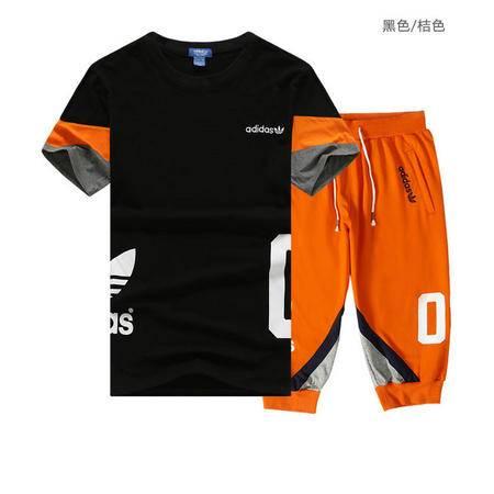 ADIDAS阿迪达斯 短袖套装男短袖T恤三叶草时尚舒适七分裤跑步运动套装