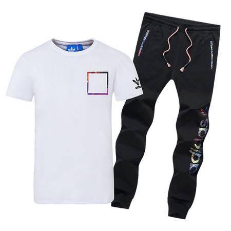 ADIDAS服阿迪达斯 夏装三叶草套装男士运动休闲长裤短袖T恤