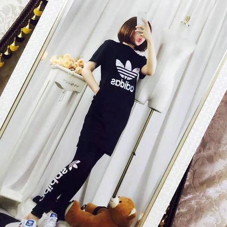 ADIDAS阿迪达斯 三叶草迷彩印花中长款休闲短袖长裤运动套装女夏