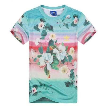 adidas阿迪达斯三叶草女装2016款运动休闲花卉短袖T恤