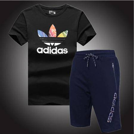 ADIDAS 阿迪达斯 三叶草男款纯棉短袖短裤休闲跑步运动套装