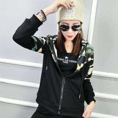 阿迪达斯/ADIDAS 三叶草新款韩版休闲运动套装女迷彩连帽