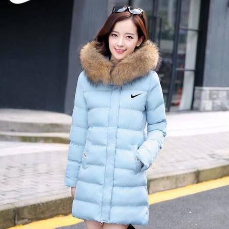 耐克/NIKE 羽绒服冬季新款女士中长款外套韩版修身加厚保暖棉衣服