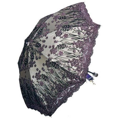 天堂伞月笼轻纱二折高档绣花双层遮阳伞防紫外线伞