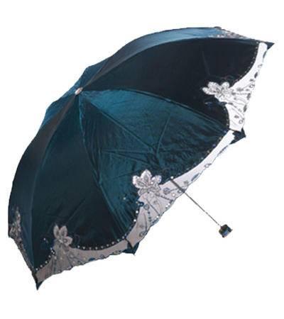 包邮天堂伞 花之心语蕾丝边颜色随机 防紫外线遮阳三折晴雨伞 318E/386E