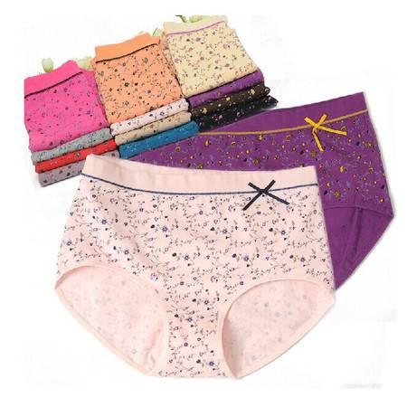 【四条装】包邮 好安怡女士纯棉碎花三角中腰女内裤颜色随机XS203