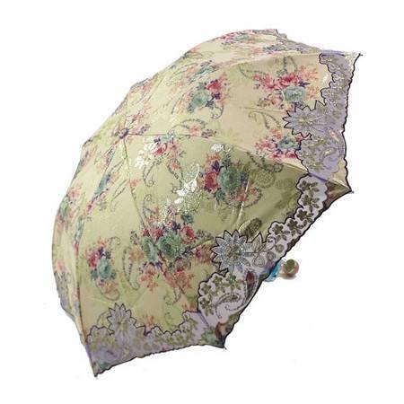 全国包邮 天堂伞古色蔷薇三折叠蕾丝绣花遮阳伞 防紫外线遮阳伞