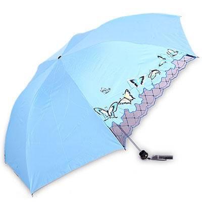 包邮天堂伞33163E春蝶恋花三折钢骨 遮阳晴雨伞防紫外铅笔伞