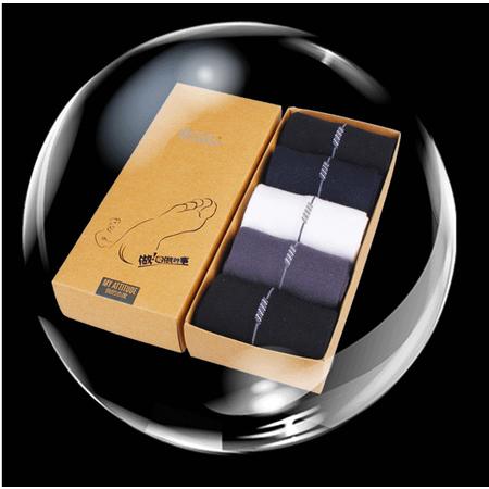 竹先生竹纤维竖条男袜礼盒装5双装 颜色随机