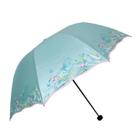 天堂伞晴雨伞太阳伞33190E完美旅行遮阳伞黑胶折叠伞女三折伞创意两用超强防晒伞