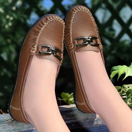 古奇天伦 牛皮女鞋 舒适豆豆鞋 休闲女鞋单鞋包邮