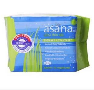进口无荧光剂阿莎娜超薄棉面日用卫生巾16片