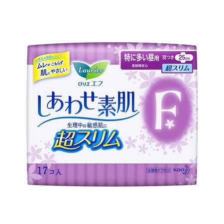 花王 乐而雅 F系列卫生巾日本原装进口透气棉柔超丝薄特长日用护翼型25cm17片