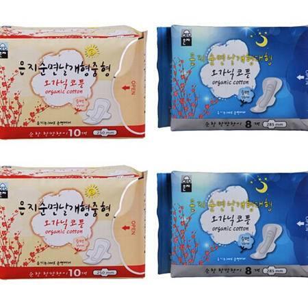 进口无荧光剂恩芝纯棉日用20片+纯棉夜用16片  4包优惠包邮套装