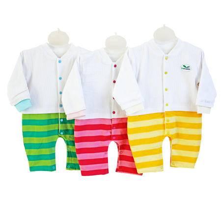 亨艺开阳双层纯棉宝宝拼接连体衣 宝宝哈衣爬服纯棉婴儿连体衣春秋和尚服睡衣长袖