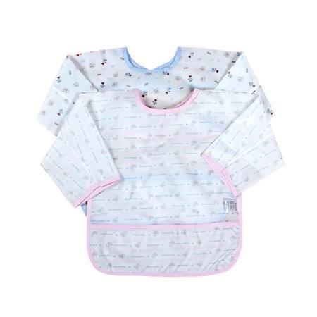 亨艺开阳防水罩衣两件装  宝罩衣纯棉儿童画画衣婴儿罩衣纯棉反穿衣食饭衫