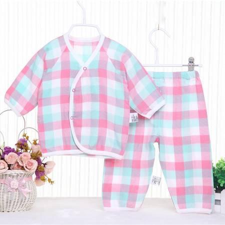 亨艺开阳格子纱布长袖偏襟套装 婴儿纯棉内衣套装纯棉和尚服