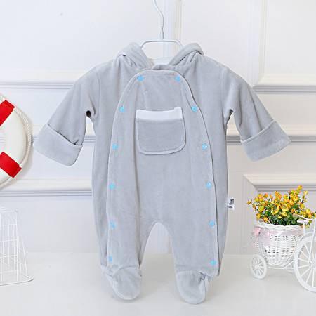 亨艺开阳宝宝天鹅绒双层连体服 婴儿连体服 婴儿外出服