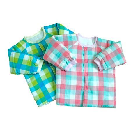 纯棉格子纱布薄棉上衣 婴儿纱布棉服保暖内衣宝宝棉外套棉衣棉服