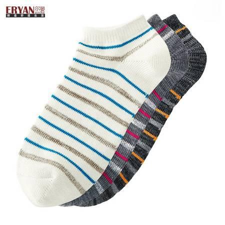ERYAN/尔晏 休闲撞色细条纹船袜(男款)3双装