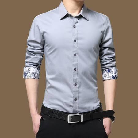 2016春秋新款男士免烫长袖修身纯棉商务休闲长袖衬衫 1583-2