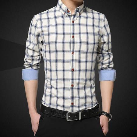 维杰斯  男 长袖衬衣 韩版修身商务休闲秋装衬衫衬衣 青年百搭格子长袖衬衫 男衬衣