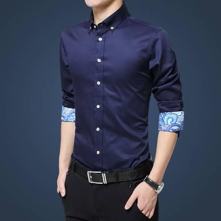壹恺/y.kay秋季男士青年长袖衬衫修身款休闲时尚韩版衬衣方领男装纯色上衣5617