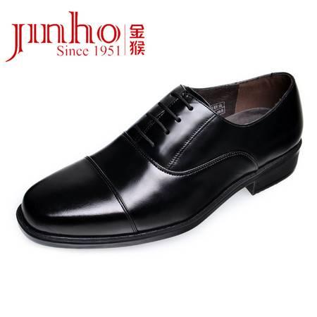 Jinho/金猴男鞋 真皮三接头功勋鞋 头层牛皮商务正装男单鞋 皮鞋212J02