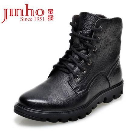 金猴冬季男士短靴时尚系带高帮韩版马丁靴英伦潮流真皮靴棉靴子 WX8004