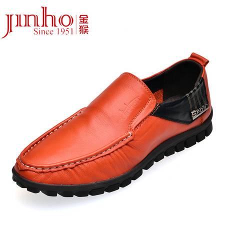 金猴皮鞋 正品真皮头层牛皮圆头日常时尚休闲潮舒适男单鞋豆豆鞋q2917