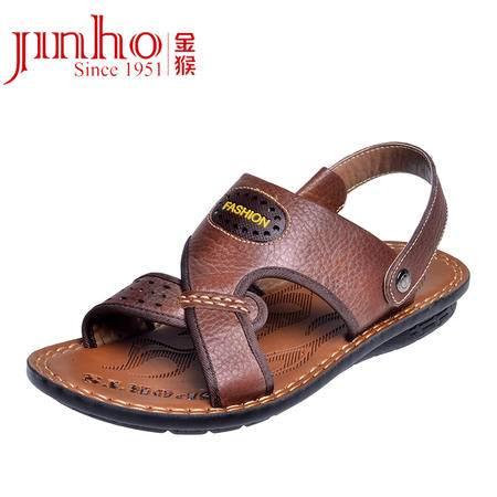 金猴皮鞋正品男士拖鞋时尚潮流夏季牛皮休闲男凉鞋沙滩鞋男凉鞋Q3809 3810