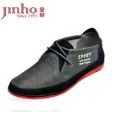 金猴皮鞋 新品正品头层真皮舒适日常运动休闲男士系带反绒男单鞋