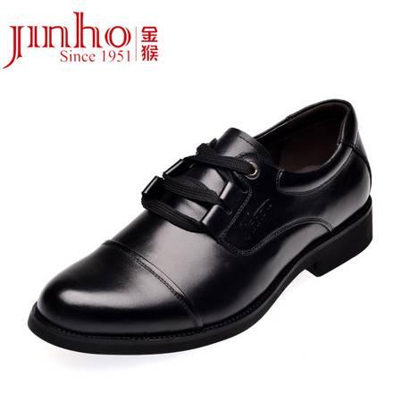 金猴皮鞋正品真皮 头层新款三接头办公室面试正装透气男单鞋黑/棕SQ2930