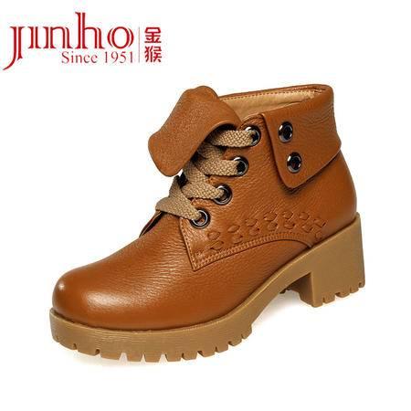 金猴女皮鞋秋冬新品时尚短靴头层牛皮舒适休闲女棉鞋马丁靴女靴Q4904 Q4906